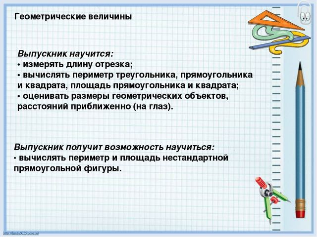 Геометрические величины Выпускник научится: • измерять длину отрезка; • вычис...