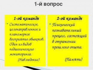 1-й вопрос 1-ой команде Систематическое, целенаправленное и планомерное восп