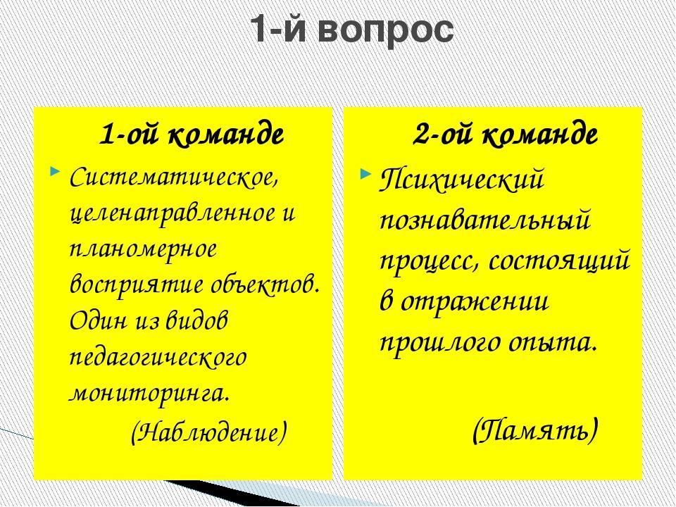 1-й вопрос 1-ой команде Систематическое, целенаправленное и планомерное восп...