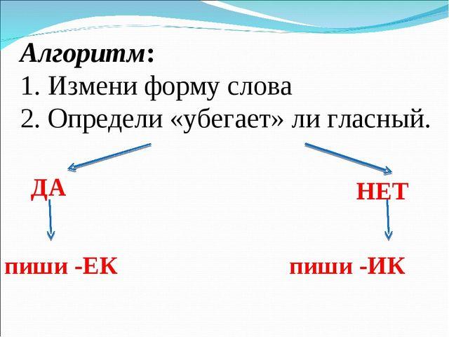 Алгоритм: 1. Измени форму слова 2. Определи «убегает» ли гласный. ДА НЕТ пиши...