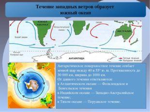 Течение западных ветров образует южный океан Антарктическое поверхностное те