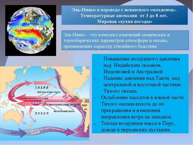 Повышение воздушного давления над Индийским океаном, Индонезией и Австралией...
