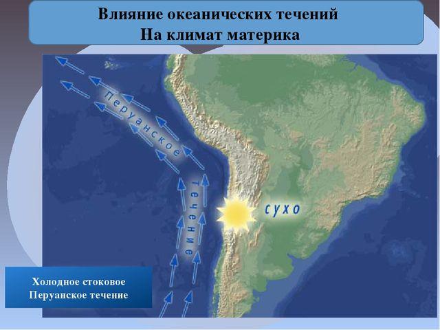 Влияние океанических течений На климат материка Холодное стоковое Перуанское...