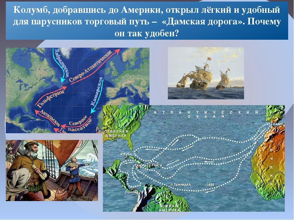 Колумб, добравшись до Америки, открыл лёгкий и удобный для парусников торговы...