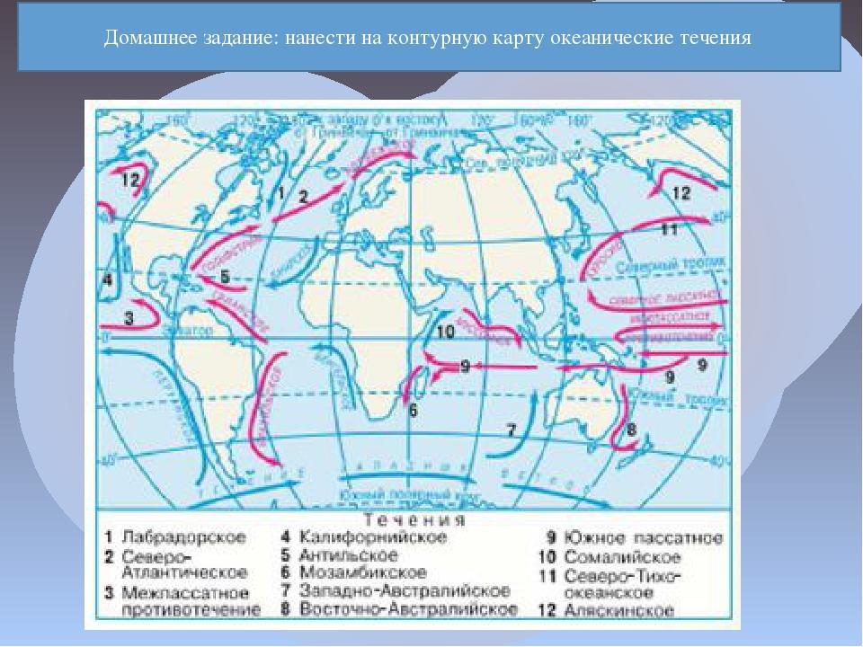 Домашнее задание: нанести на контурную карту океанические течения