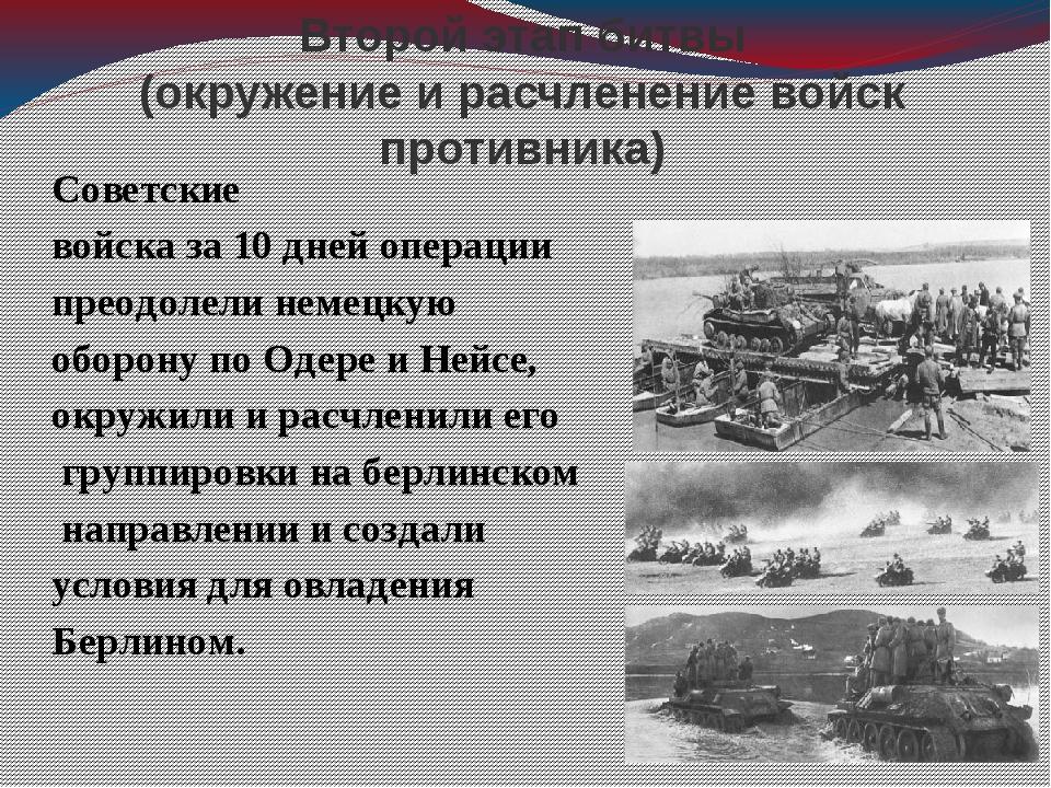 Второй этап битвы (окружение и расчленение войск противника) Советские войска...