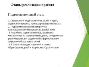Этапы реализации проекта Подготовительный этап: 1. Определение педагогом темы