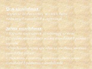 Цель исследования : - изучение особенностей жизни и быта тоджинцев-оленеводов