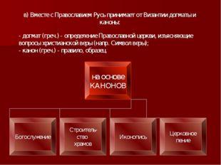 в) Вместе с Православием Русь принимает от Византии догматы и каноны: - догма