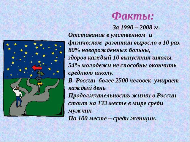 Факты: За 1990 – 2008 гг. Отставание в умственном и физическом развитии выро...