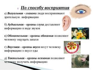 По способу восприятия а) Визуальная - глазами люди воспринимают зрительную ин