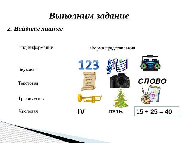 Выполним задание 2. Найдите лишнее пять 15 + 25 = 40 IV СЛОВО Вид информации...