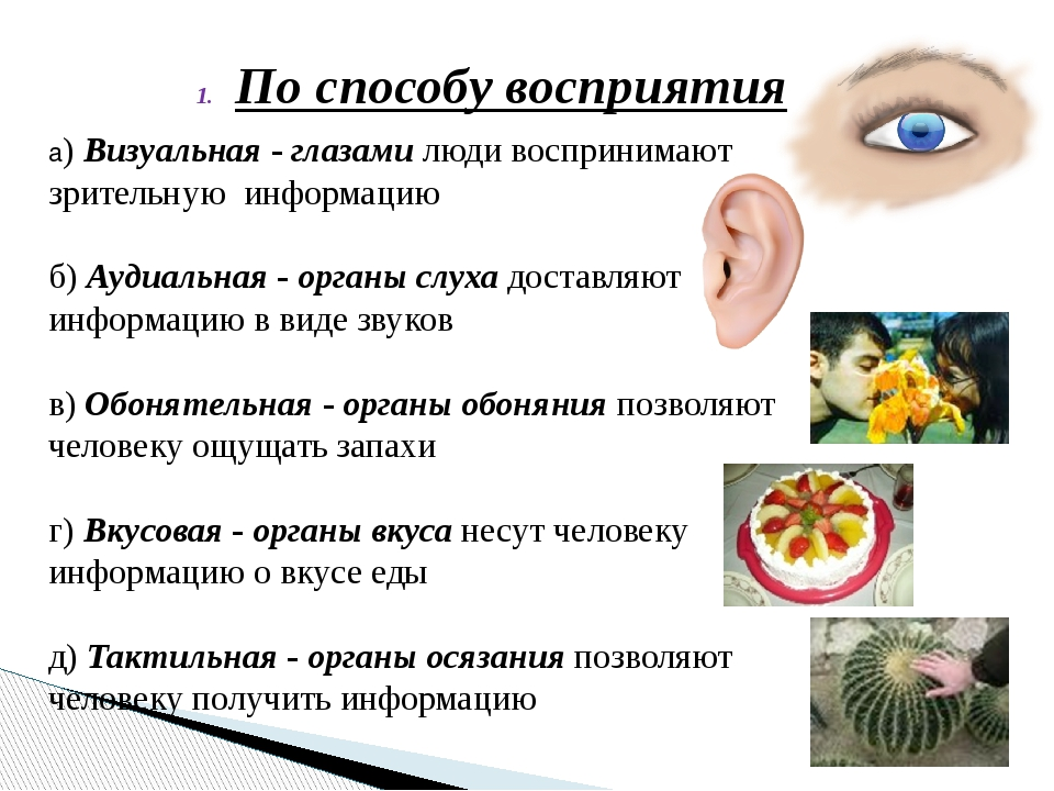 По способу восприятия а) Визуальная - глазами люди воспринимают зрительную ин...