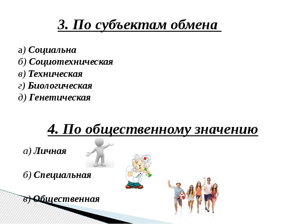 3. По субъектам обмена а) Социальна б) Социотехническая в) Техническая г) Био...