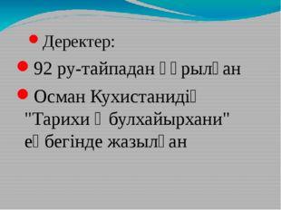"""Деректер: 92 ру-тайпадан құрылған Осман Кухистанидің """"Тарихи Әбулхайырхани"""" е"""