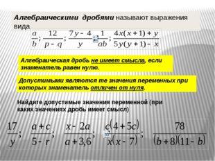 Алгебраическими дробями называют выражения вида Алгебраическая дробь не имеет
