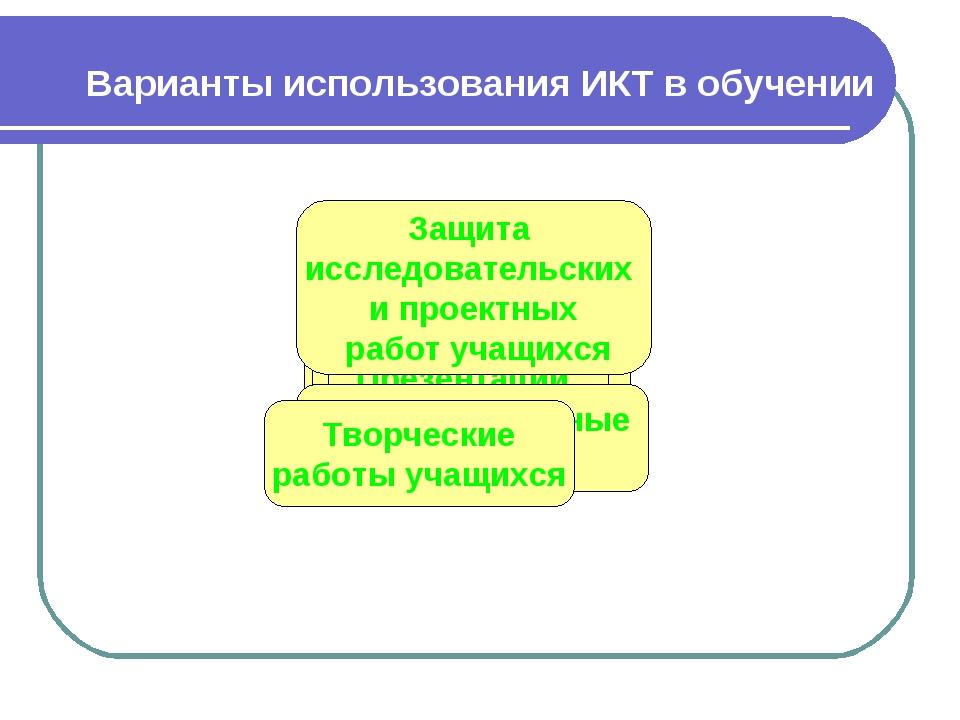 Варианты использования ИКТ в обучении Внеурочная работа Электронные учебники...