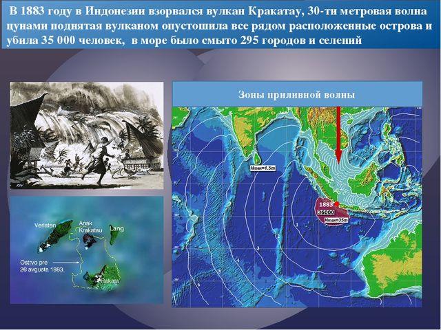 В 1883 году в Индонезии взорвался вулкан Кракатау, 30-ти метровая волна цуна...