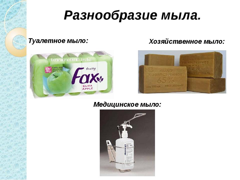 Разнообразие мыла. Туалетное мыло: Хозяйственное мыло: Медицинское мыло: