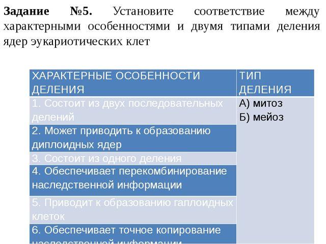 Задание №5. Установите соответствие между характерными особенностями и двумя...
