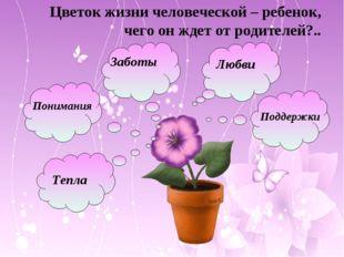 Цветок жизни человеческой – ребенок, чего он ждет от родителей?.. Любви Забот
