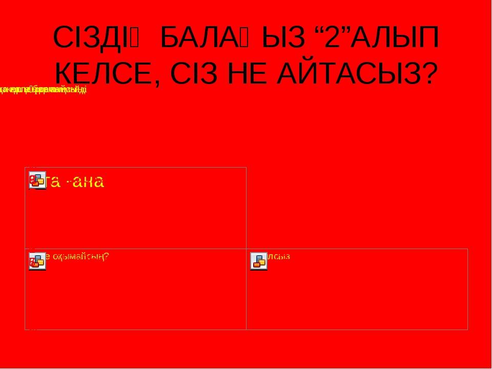"""СІЗДІҢ БАЛАҢЫЗ """"2""""АЛЫП КЕЛСЕ, СІЗ НЕ АЙТАСЫЗ?"""