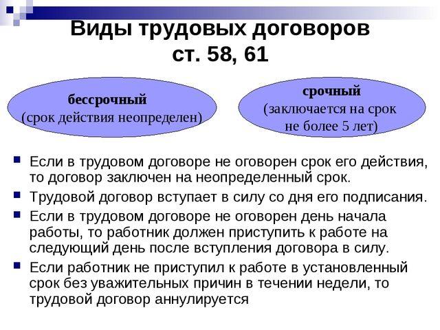Виды трудовых договоров ст. 58, 61 Если в трудовом договоре не оговорен срок...