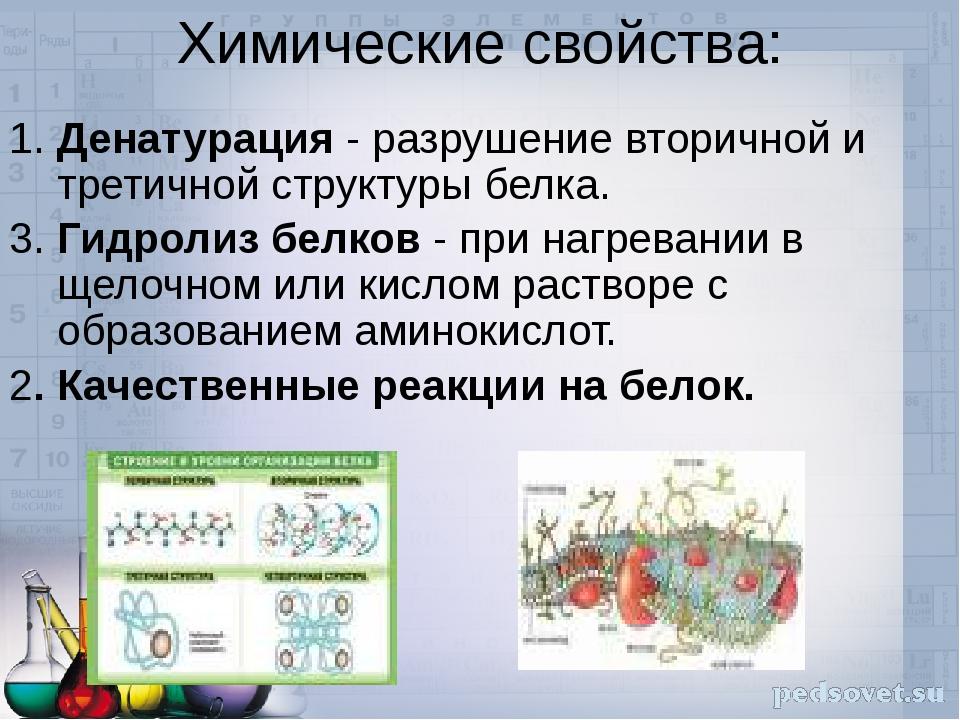 Химические свойства: 1. Денатурация - разрушение вторичной и третичной структ...