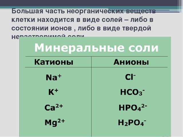 Большая часть неорганических веществ клетки находится в виде солей – либо в с...