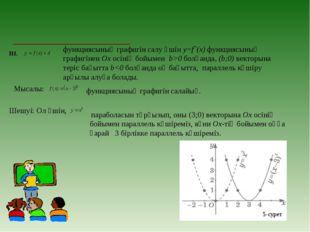 ІІІ. функциясының графигін салу үшін у=f`(х) функциясының графигінен Ох осіні