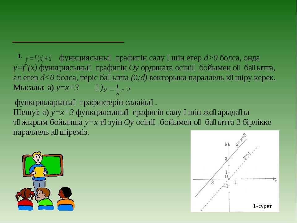 І. функциясының графигін салу үшін егер d>0 болса, онда у=f`(х) функциясының...