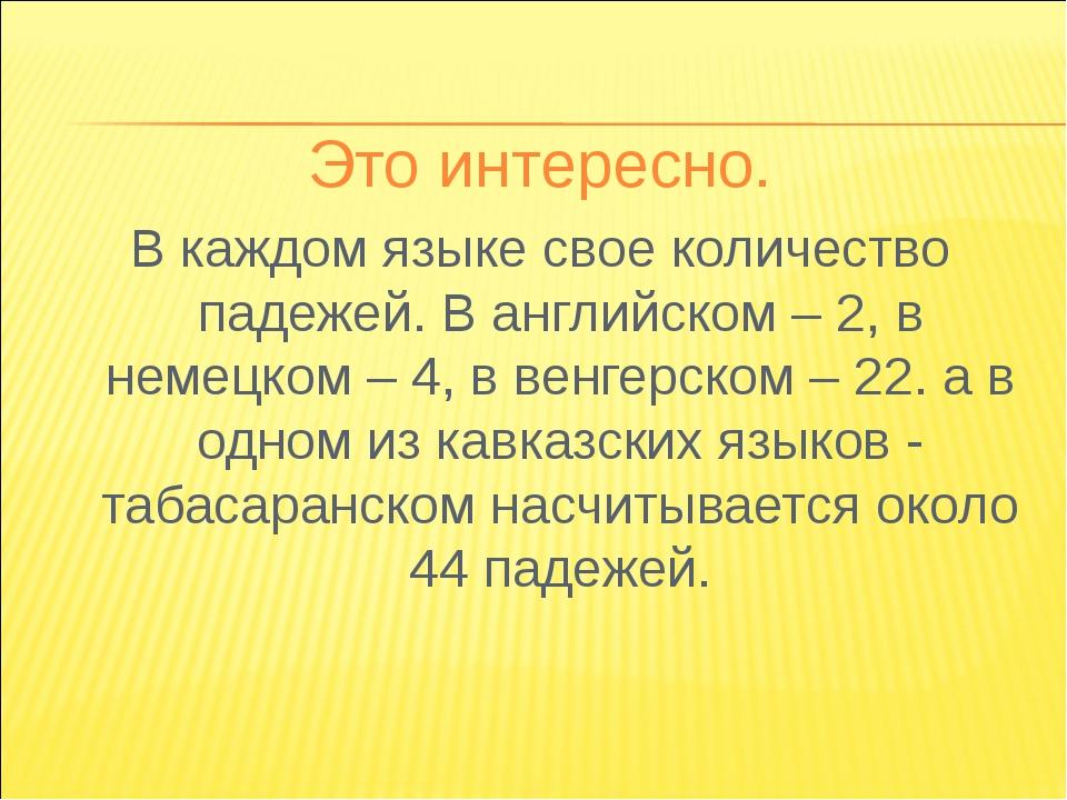 Это интересно. В каждом языке свое количество падежей. В английском – 2, в не...