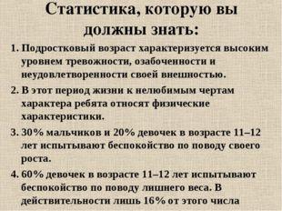 Статистика, которую вы должны знать: 1. Подростковый возраст характеризуется
