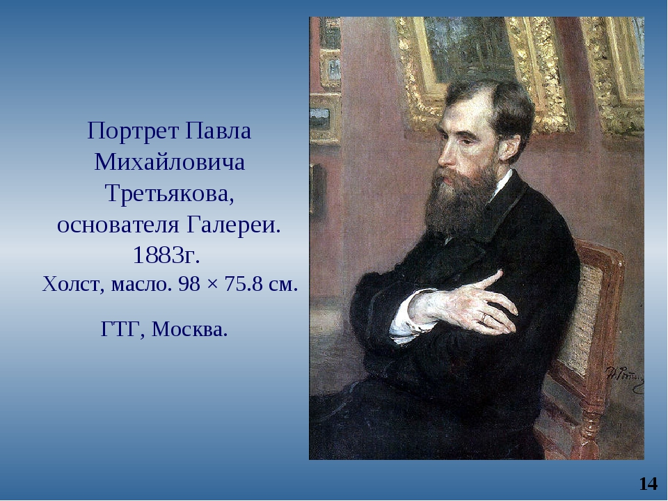 Портрет Павла Михайловича Третьякова, основателя Галереи. 1883г. Холст, масло...