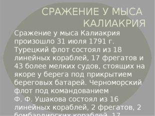 СРАЖЕНИЕ У МЫСА КАЛИАКРИЯ Сражение у мыса Калиакрия произошло 31 июля 1791г.