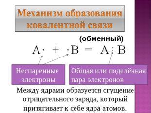 Неспаренные электроны Общая или поделённая пара электронов Между ядрами образ