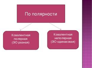 По полярности Ковалентная полярная (ЭО разная) Ковалентная неполярная (ЭО оди