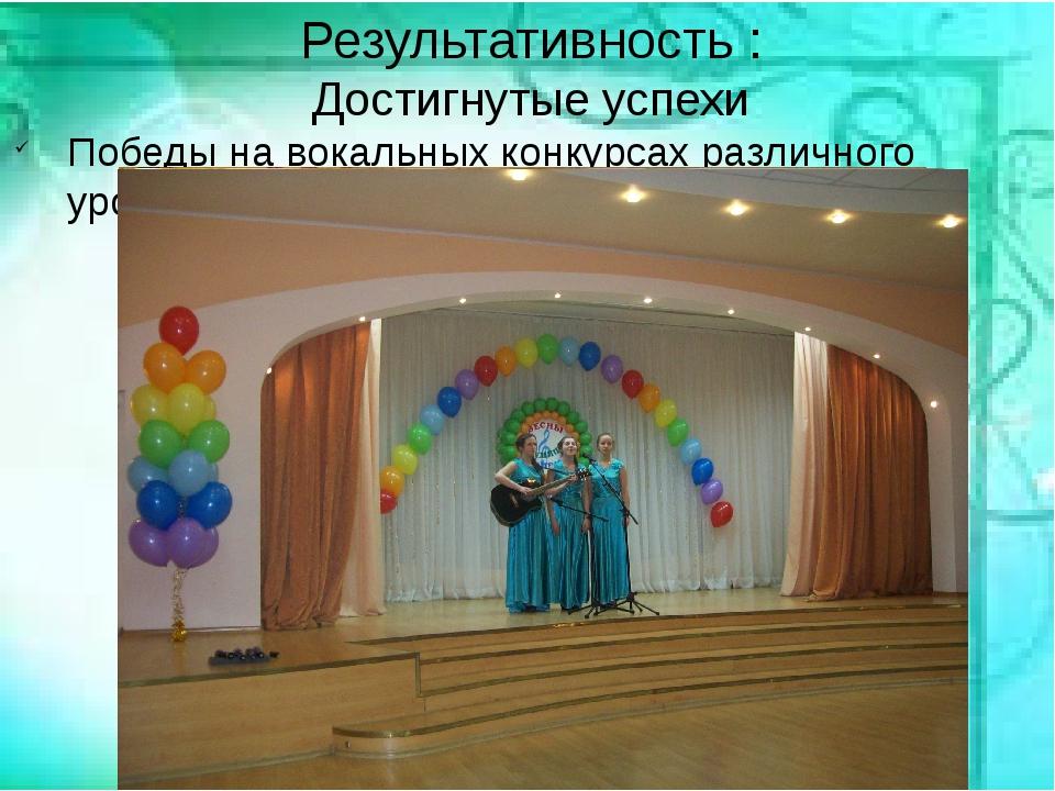 Результативность : Достигнутые успехи Победы на вокальных конкурсах различно...