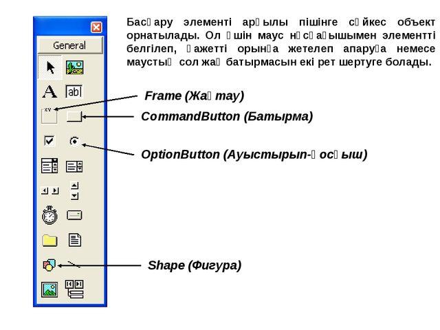 CommandButton (Батырма) OptionButton (Ауыстырып-қосқыш) Frame (Жақтау) Shape...