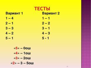 Вариант 1 1 – 4 2 – 1 3 – 3 4 – 2 5 – 1 «5» – 0ош «4» – 1ош «3» – 2ош «2» – 3