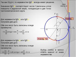 x y 1 0 1 –1 0 линия тангенсов a Так как E(tg)=, то неравенство tgta всегда