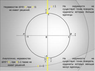 x y 0 1 0 1 –1 –1 a  1 a  –1 Аналогично, неравенство sinta, при a 1 не име