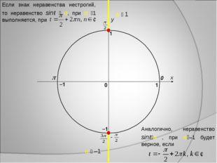 x y 0 1 0 1 –1 –1 a  1 a  –1 Если знак неравенства нестрогий, то неравенств