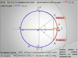 x y 0 1 1 –1 –1 2 A D B C Выбор скобок в записи ответа зависит от знака нера