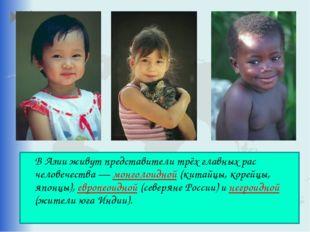 В Азии живут представители трёх главных рас человечества — монголоидной (кит