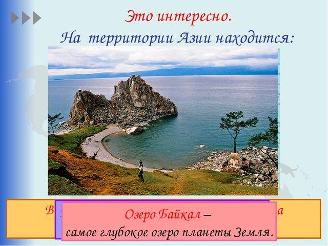 Это интересно. На территории Азии находится: Высочайшая вершина мира Джомолун...