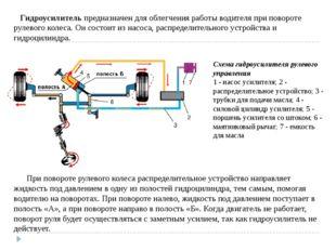Гидроусилитель предназначен для облегчения работы водителя при повороте руле