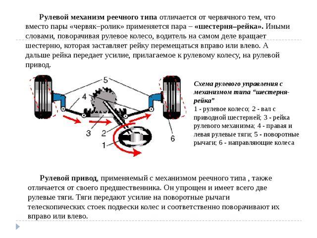 """Схема рулевого управления с механизмом типа """"шестерня-рейка"""" 1 - рулевое коле..."""