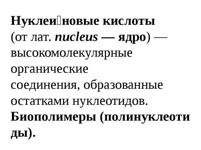 Нуклеи́новые кислоты (отлат. nucleus— ядро)— высокомолекулярные органичес...