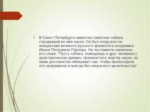 В Санкт-Петербурге известен памятник собаке, страдавшей во имя науки. Он был